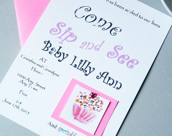 Sip and See Invitation with Cupcake and Sprinkles