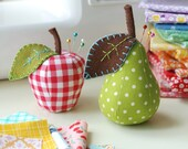 PDF Sewing Pattern Bundle for Scrappy Apple and Pear Pincushions