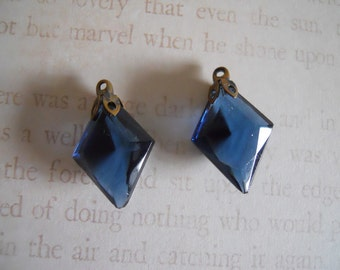 Vintage Montana Blue Glass Faceted Stones