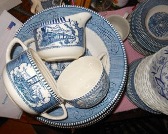 Currier and Ives - Assorted - Royal - Vintage Blue and White Dinnerware