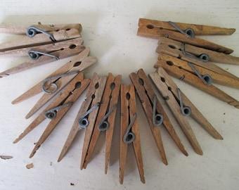 Vintage Spring Clip Clothespins - Rustic - 12