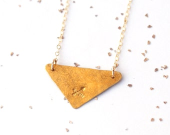 double arrow hammered triangle custom necklace