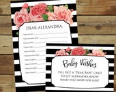 Pink roses printable baby shower game, baby wishes cards, dear baby instant download, Wishes for Baby, roses and stripes