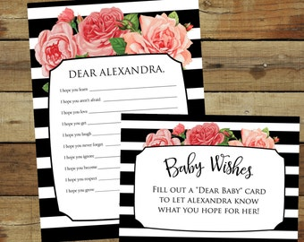 Baby wishes shower game - dear baby cards - shower activity - pink roses and black stripes - editable pdf - instant download