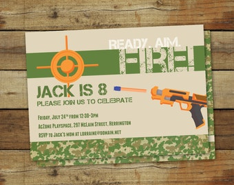 Dart gun birthday party invitation, nerf party, sports birthday party, nerf birthday party, ready aim fire, printable invitation