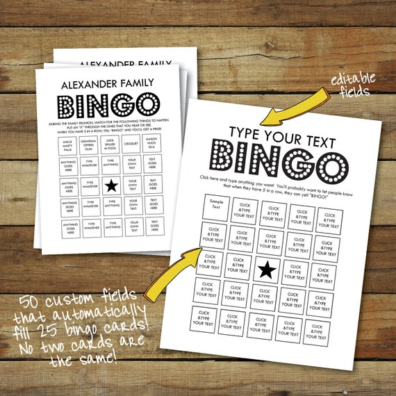 Custom bingo cards - type your own text - cards fill automatically - 25 unique bingo cards - instant download pdf - custom bingo game