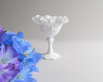 Vintage Milk Glass Bowl, Pedestal Bowl, Wedding Candy Bar Bowl, Footed Dish, Fenton Rose Pattern