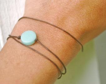 Mint green dot wrap wish bracelet. Tiedupmemories
