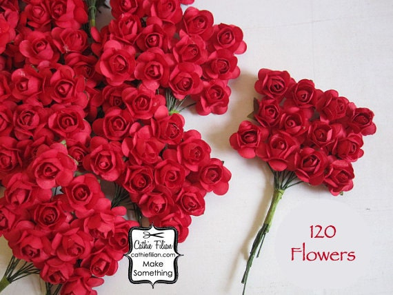 120 Red Paper Flowers - smalli bouquet - weddings - favors - invitations - paper goods