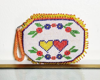 Vintage Beaded Coin Purse with Hearts + Flowers