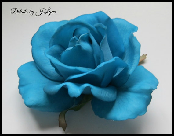 Aqua Real Touch Open Rose Hair Flower Clip - Wedding or Prom