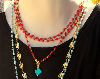 Red Beaded Turquoise Cross Necklace, Southwestern Necklace, Southwestern Jewelry, Native American Necklace Aztec Mexican Jewelry