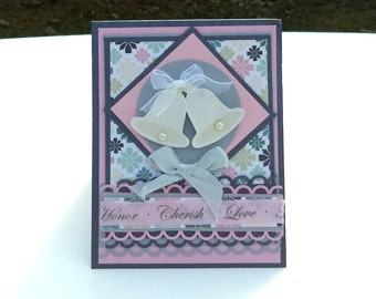 Handmade Wedding Greeting Card, Pink and Silver Wedding Card, Cherish Greeting Card, Love Card