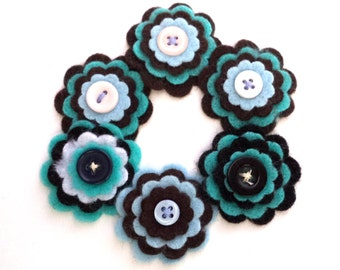 Floral Embellishments, Felt Flowers with Button Centers, Turquoise, Blue, Black, Brown for Scrapbooking, Card Making, Hair Bows