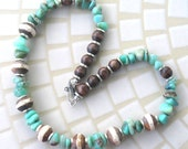 Blue Green Chrysoprase Nuggets with Brown and White  Wood and Silver Beads Handmade Necklace, Green Stone Beaded Necklace