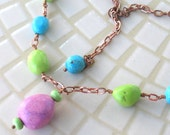 "Blue, Green and Mauve ""Turquoise"" and Copper Chain Necklace"