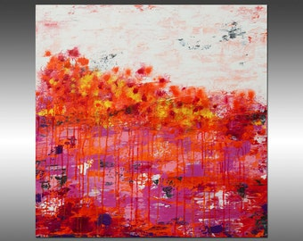 Lithosphere 121 - Art Abstract Painting Large Colorful Wall Art Textured Painting Orange White Pink, Canvas Art Industrial Rustic Modern Art