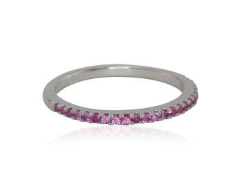 Hot Pink Sapphire Prong Set Half Eternity Wedding Band - LS4057