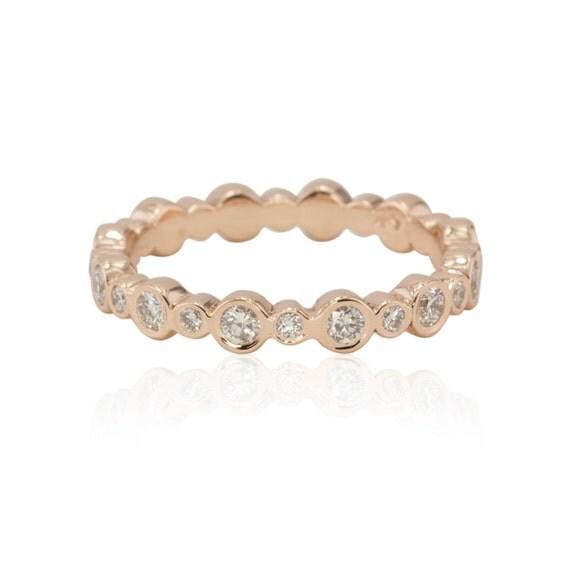 Diamond Eternity Band in 14k Rose Gold, Bezel Set Diamond Ring Band, Diamond Promise Ring (Customizable) - LS2141