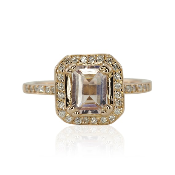 Morganite Engagement Ring, Asscher Engagement Ring, White Sapphire Halo Engagement Ring, Rose Gold Morganite Engagement - LS1513