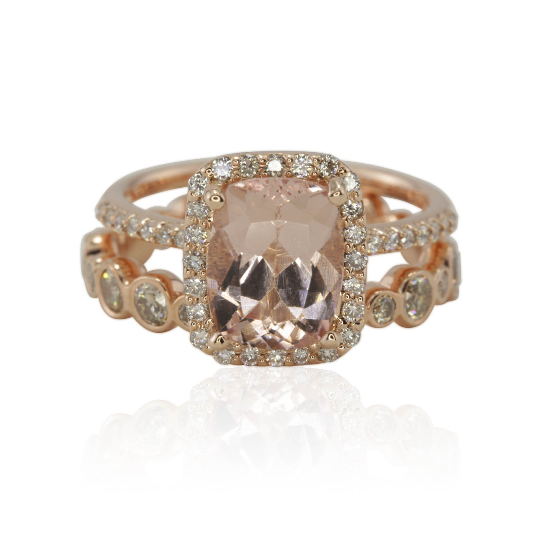 rose gold morganite engagement ring morganite halo engagement. Black Bedroom Furniture Sets. Home Design Ideas