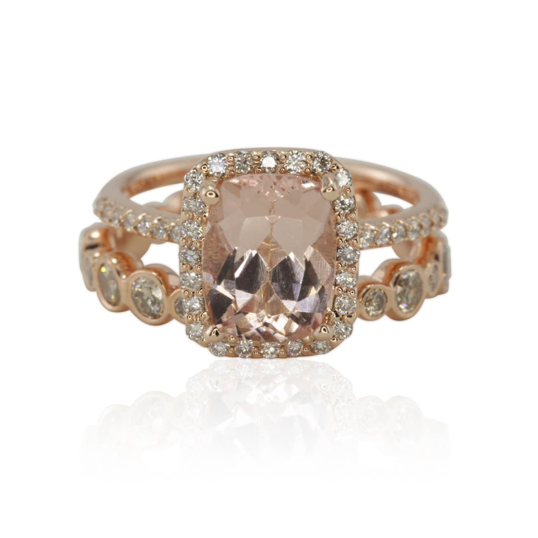 gold morganite engagement ring morganite halo engagement