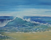 Beach Wall Art-Beach Painting-Wave Painting-Beach Scene-Large Original Acrylic Painting on Canvas-Seascape
