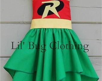 Superhero Robin Dress, Superhero Robin Costume, Superhero Halloween Robin Dress, Custom Boutique Girl