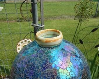 "Bangle #94  -- North Dakota Light Colored Banded Agate --  Inside Diameter of 2.44"" (62.0 mm)  --  .94"" (23.9 mm) Wide"