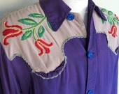 Vintage 1940s Embroidered Rodeo Ranchwear Cowboy Western Shirt - Unisex!