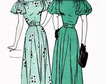 Vintage 1940s Dress w/ Capelet or Balloon Sleeves Sewing Pattern Butterick 4421 Drop Shoulder 40s SWING ERA Sewing Pattern Size 14 Bust 32