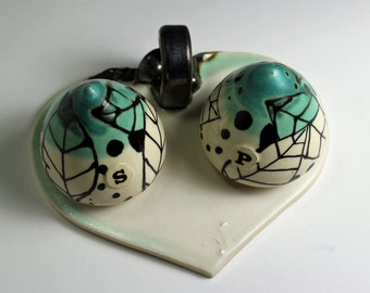 Salt and Pepper set in White and Turquoise