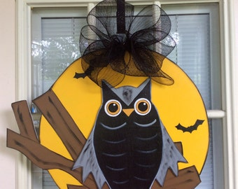 Halloween door decor, front door decor, owl door hanger, fall door decor, IN STOCK