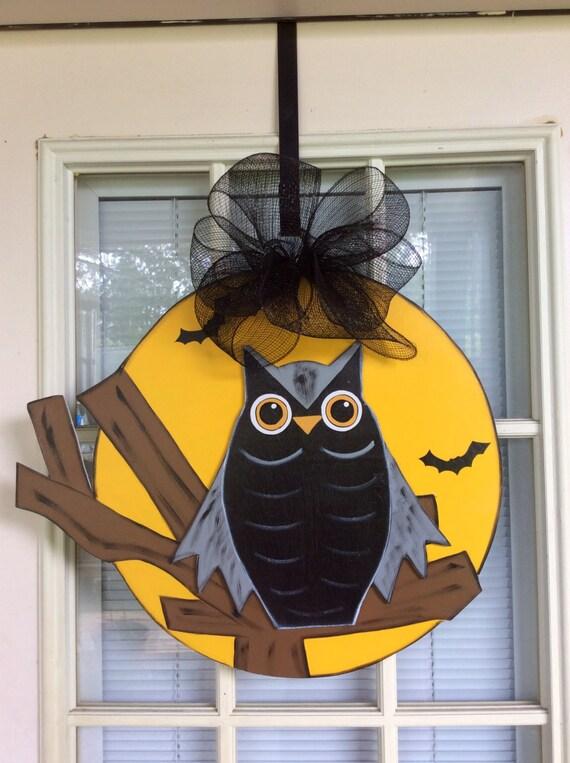 Halloween door decor front door decor owl door hanger fall ~ 102409_Halloween Owl Door Hanger