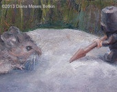 Of MICE and LEGO MEN -- Original miniature 2.75x6 inch whimsical oil painting by Diana Moses Botkin
