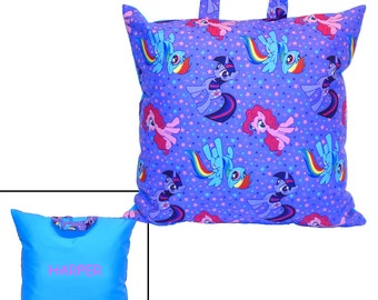 PERSONALIZED PILLOW for GIRL - Made From My Little Pony Fabric - Great For Traveling & Car Trips! - You Choose Generation 3 or 4!