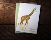 Letterpress Printed Birthday Giraffe Card - Single
