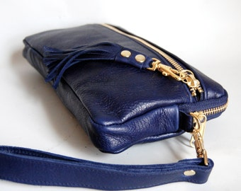 Leather wristlet clutch in deep blue