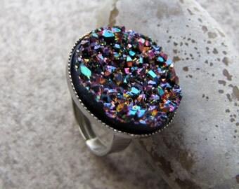 Simple Rainbow Druzy Adjustable Ring
