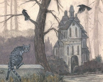Haunted house in forest with cat and crows, ravens