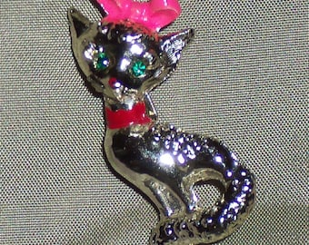 Kitty Pin Silver Cat Pin with Pink Bow and Red Collar Green Eyes Cat Brooch