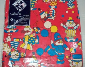 Set of 2 packages of clown wrapping paper Creations Plus gift wrap with clowns balloons flowers dog colorful kids gift scrapbooking paper
