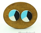 Buy 1 Get 1 Free - Colorful Wood Cabochon, Wooden Button, 12mm 15mm 20mm Round Black White Turquoise Wood Cabochon - HWC034P