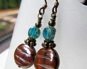 Brown and Aqua Blue Czech Glass Beaded Niobium Earrings - Shiny Sea