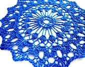 Blue Colored Handmade Crocheted Thread Round Doily 7""