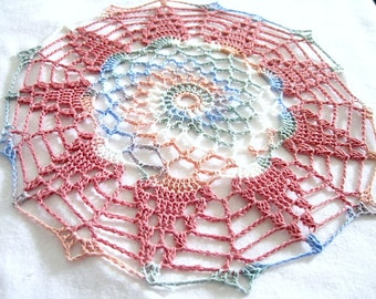 Small- Dusty Rose Blue Green Cream Vareigated Hand Crocheted Round Doily 8 Inch