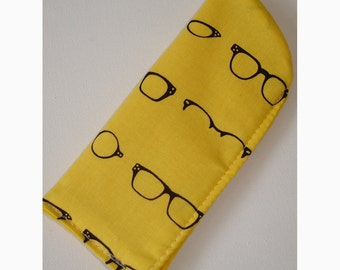 Glasses Case Soft Cozy Sleeve Eyeglass Spectacles Retro Vintage Style Black Designer Specs Bright Yellow