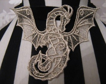 Handmade Metallic Silver Dragon Embroidered Lace Choker