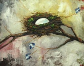 Nest painting 277 20x24 inch original bird nest portrait oil painting by Roz
