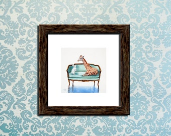 Art Print of original Oil Painting/Giraffe/Bunny Rabbit/Loveseat Chair Zoo Animal/by artist Kimberly Applegate Square or 8x10 ready to frame